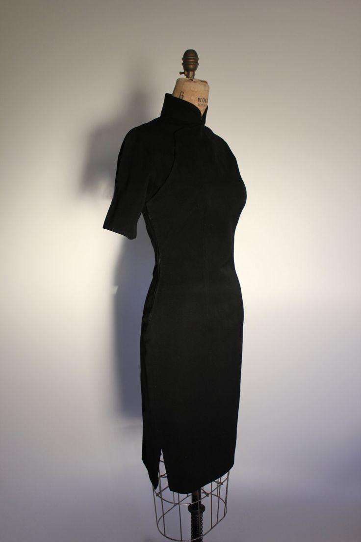 Vintage schwarze Cheongsam Wiggle Kleid von TwentyThirdLibretto