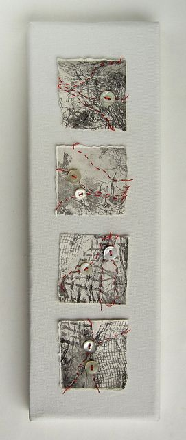 Red thread on collagraph by Helen Smith - Fragments of torn collagraph prints stitched with red thread and vintage shirt buttons http://thiscraftinglife.blogspot.com/2011/11/red-threads.html http://www.flickr.com/photos/hmsdesign/with/6344129504/