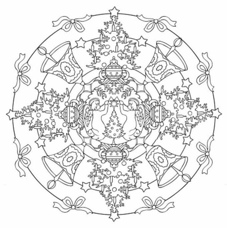 Mandala 607, Christmas Designs 3D Coloring Book, Dover Publications