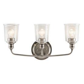 Kichler Waverly 3-Light 11.75-In Classic Pewter Cylinder Vanity Light Bar 45747Clp