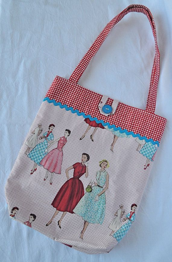 Sewing Pattern printed fabric tote bag ~ HenHouseHomemade on Etsy