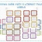 Common Core Math & Literacy Labels to organize your files and resources  For first grade common core standards    Color Coordinated by Strands    In...
