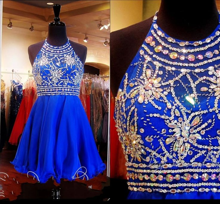 Homecoming Dresses Cheap 2015 Royal Homecoming Dresses Real Pictures Halter Neck Short Beaded Sequins Rhinestones Tulle A Line Sweet 16 Gowns With Open Back Short Dresses Online From Uniquebridalboutique, $139.9| Dhgate.Com