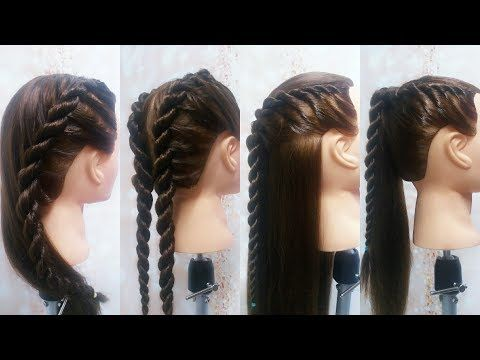 Peinados con Trenzas de Dos Cabos de Raíz - French Twist into Rope Braid - YouTube