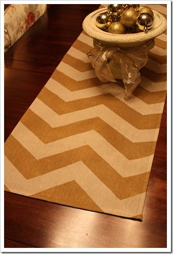 Chevron Runner and Tutorial. Genius using a canvas drop cloth for $10 to make 4 different runners!