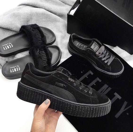 2018 Velvet Black Femme Noir Baskets Basses Chaussures Fenty