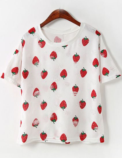 Strawberry Print Loose T-shirt