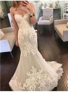 Hourglass Natural Hall Trumpet Mermaid Sweep Brush Spring Lace Beach Wedding Dress