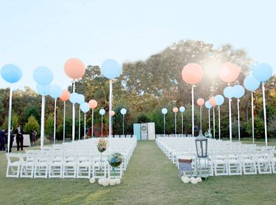 balloons for wedding ceremony - thinking of getting a few, maybe 10, big balloons like this for people to hold at the ceremony since we can't have any furniture or stationary decoration. i think the permit says you can only have things that are held. maybe a few chairs for the elderly.