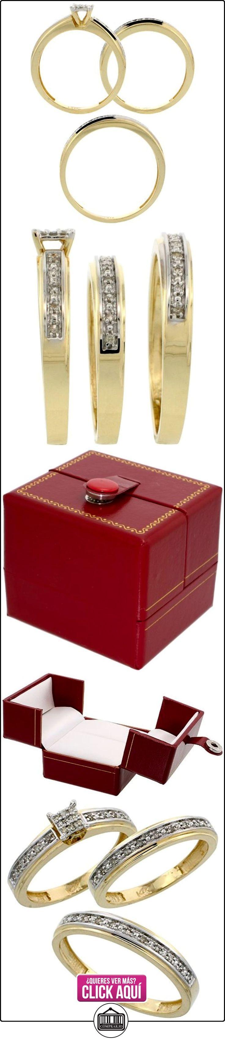 Revoni - Alianza de oro amarillo con diamante  ✿ Joyas para hombres especiales - lujo ✿ ▬► Ver oferta: http://comprar.io/goto/B005M37X3M