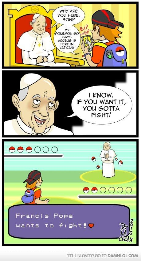 I like to think that he would only have Arseus.  Catch him when you play PokemonGo.   Click here to View the Comic.