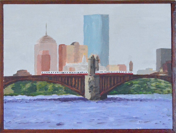 The Longfellow Bridge with the Red Line Train crossing, in the back ground is part of the Boston Skyline.. $250.00, via Etsy.