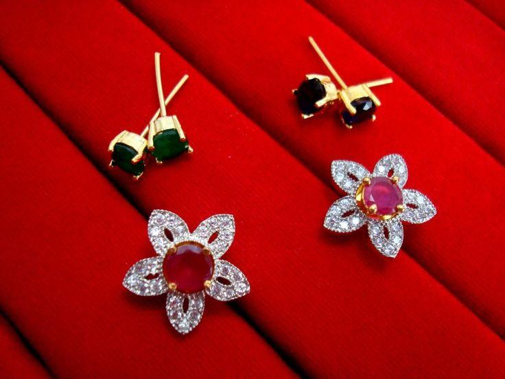 6 in 1 Cute Flower Changeable Studded Zircon Earrings - PINK