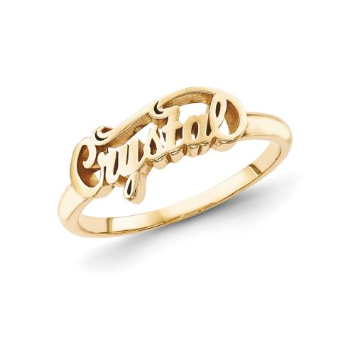 Gold plated sterling silver script letters fancy name ring for Gold ring models with letters
