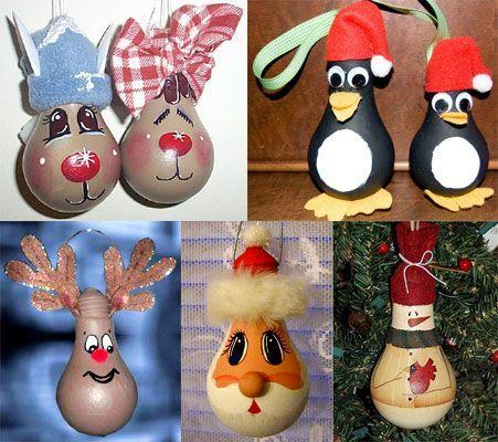 Lavoretti di Natale con le lampadine riciclate. Speciale Natale - www.Sottocoperta.net: