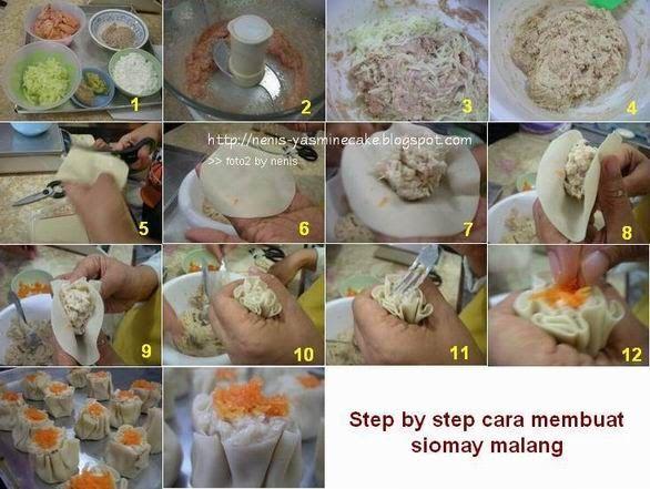 SIOMAY MALANG Sumber resep : Kursus Bakso Malang - Natural Cooking Club (NCC) Bahan : 100gr ikan tenggiri, dihaluskan 100gr daging ayam, ...