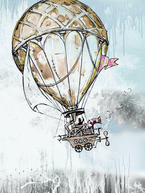 "Vintage illustration Fine art print 12"" x 16"" drawing mixed media watercolor artwork Old balloon. $35.00, via Etsy."
