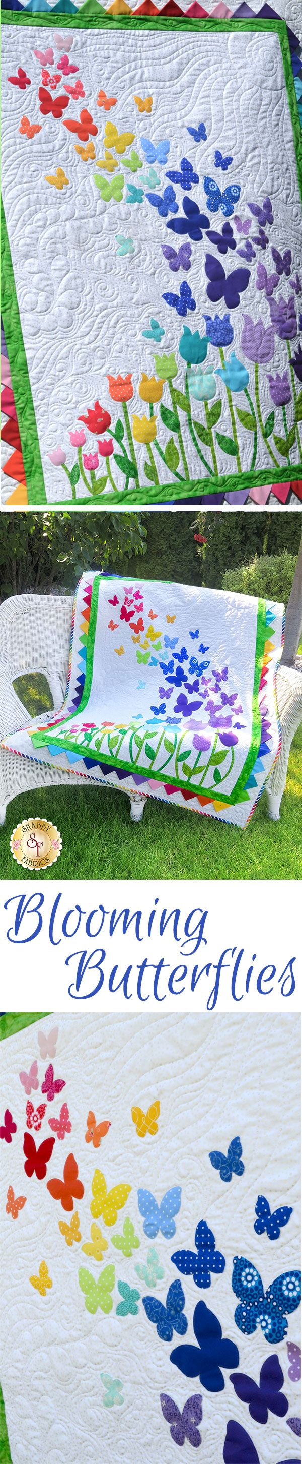 "Brighten your little girls room with this darling Blooming Butterflies Quilt! This 40½"" x 51½"" quilt features a beautiful array of butterflies floating on a gentle breeze over a bed of blooming tulips."