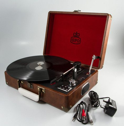 GPO Attaché Vinyl Record Player - Vintage Brown