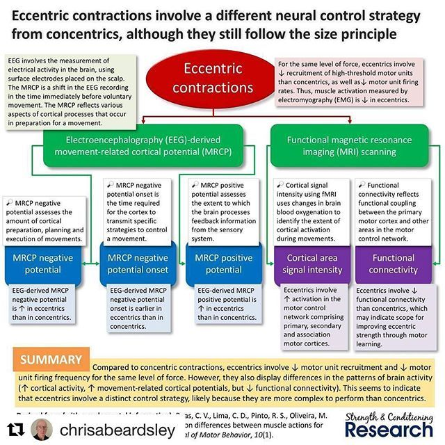 Eccentrics cause he says it better and science!  @chrisabeardsley (@get_repost) ・・・ Eccentric training tends to cause eccentric-specific strength gains, which have historically been attributed to largely spinal mechanisms.  However, new research is showin