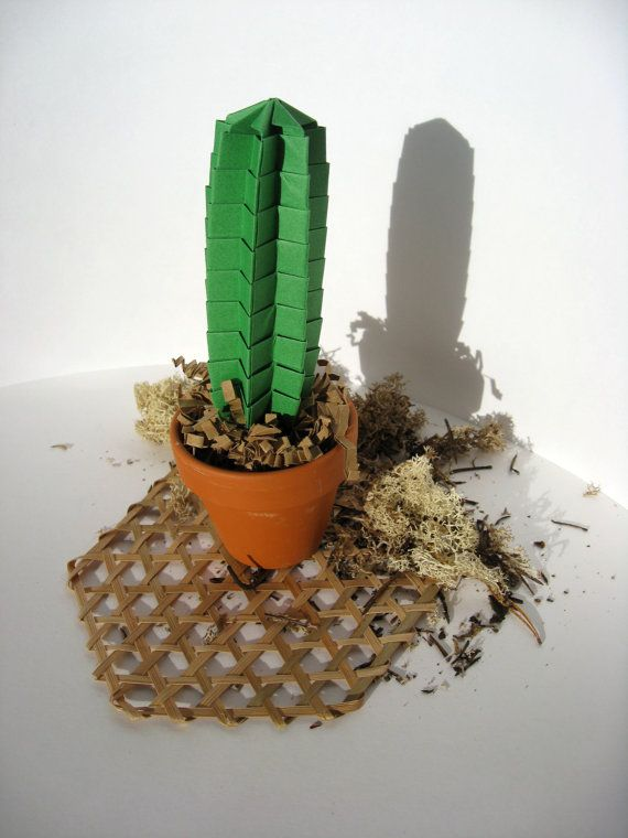 Origami  Paper Skinny Cactus Succulent  Plant In Leaf Green Home Decor Office Decor Gift For Him Gift for Colleagues Bosses Gift For Friends