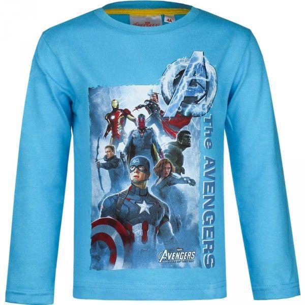 Langærmet Marvel Avengers trøje med motiv af Captain America, Black Widow, Hulk, Thor og Hawk Eye