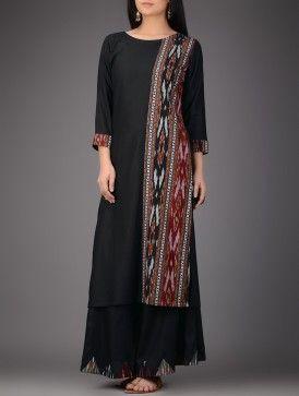 Black-Red Ikat Cotton Silk Kurta