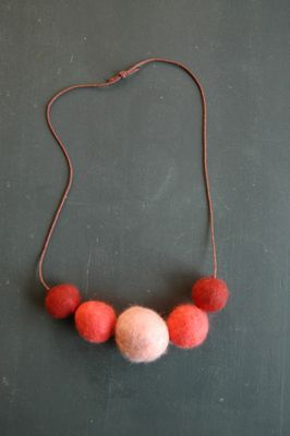 felted ball necklace