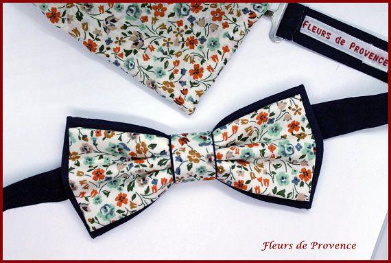Set Noeud Papillon double et Pochette costume assortie Tissu