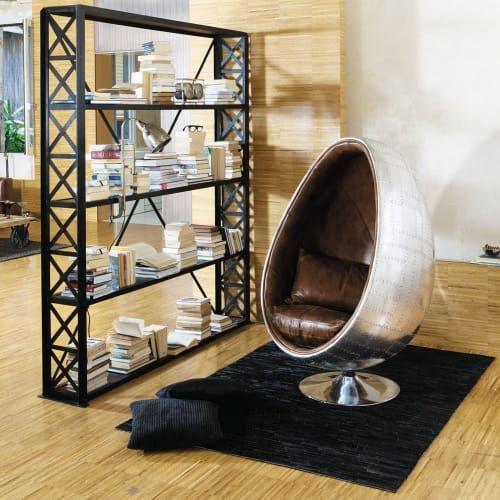 Fauteuil œuf Indus En Cuir Marron Fauteuil En Cuir Marron Deco Chambre Industrielle Decoration Loft