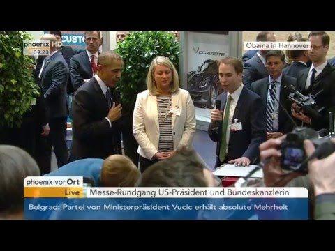 Obama-Besuch in Hannover: Messerundgang des US-Präsidenten und der Bunde...