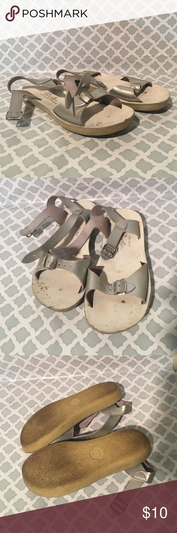 Youth 1 silver salt water sandals Preowned some marks I haven't tried to remove see pic saltwater Shoes Sandals & Flip Flops