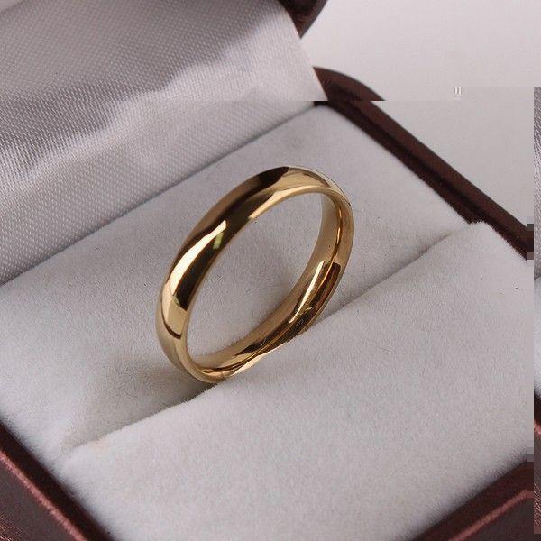 Amplia 4mm versión Ligera de oro anillos de Acero Inoxidable 316L joyería de las mujeres al por mayor sortea la joyería