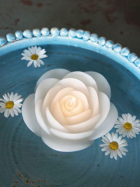 Белая роза плавающие свечи