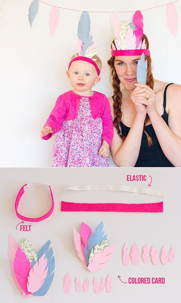 Simple and Easy Kids Party Craft Ideas | DIY Feather Crown and Garland by DIY Ready at http://diyready.com/best-kids-party-ideas/
