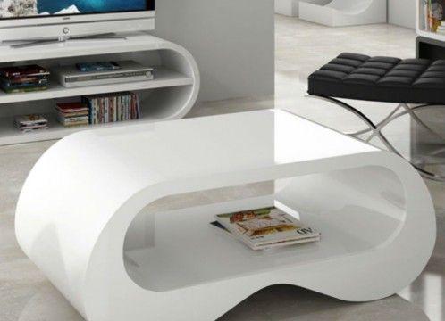 Mesa centro moderna lacado blanco brillo