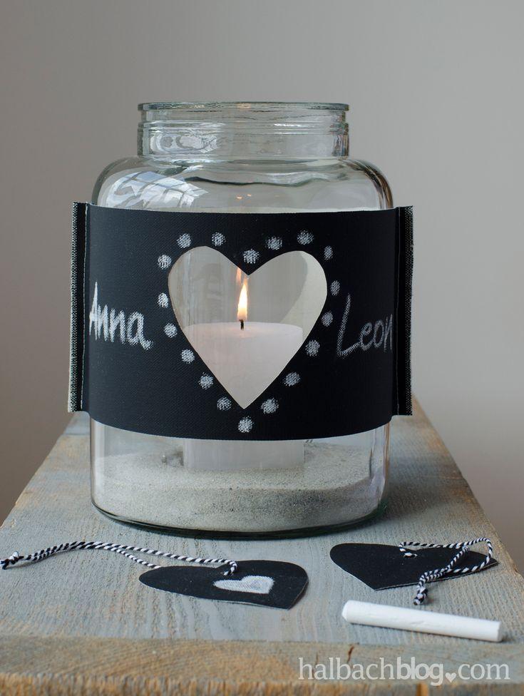 halbachblog I DIY-Ideen mit Tafelstoff I Windlicht mit Banderole I Chalkboard I Craft I Herz