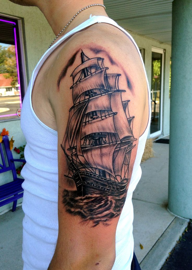 Ship Tattoo Sleeve  by Diane Lange at Moonlight Tattoo Seaville N.J.