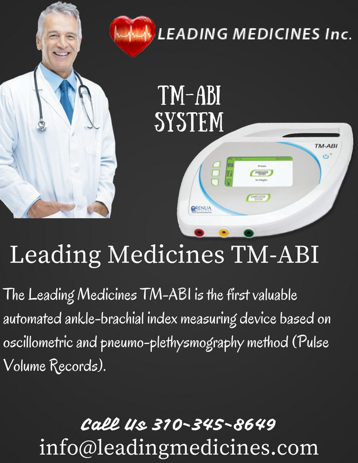 The Leading Medicines TM-ABI is the first valuable automated ankle-brachial index measuring device based on oscillometric and pneumo-plethysmography method (Pulse Volume Records). The blood pressure on the upper and lower extremities is measured simultaneously, resulting in the calculation of the anklebrachial index (ABI).CALL 310-345-8649 for more information.