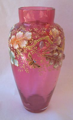 *CRANBERRY GLASS:  Bohemian Moser Style Enamelled Glass Vase, Insets, Oakl Leaves Acorns.