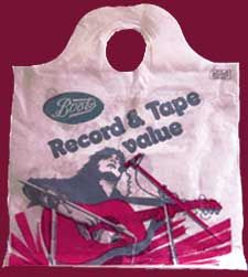 Record department bag from Boots the chemist. Yes....Boots used to sell records. Was it Marc Bolan on the front?