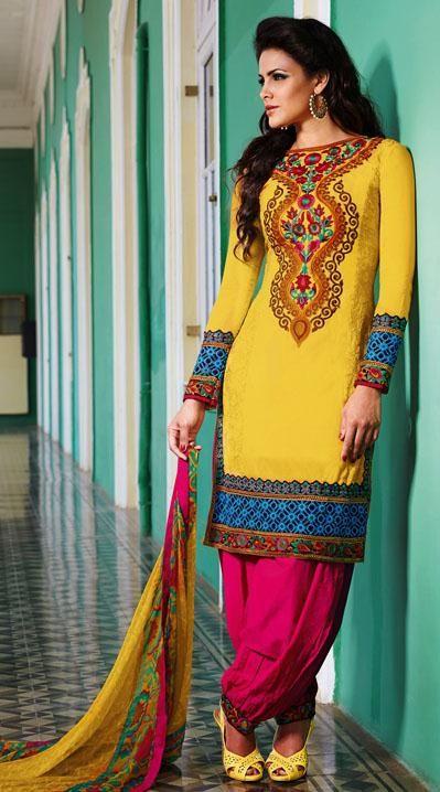 $95.24 Yellow and Pink Cotton Embroidered Punjabi Salwar Kameez 25972