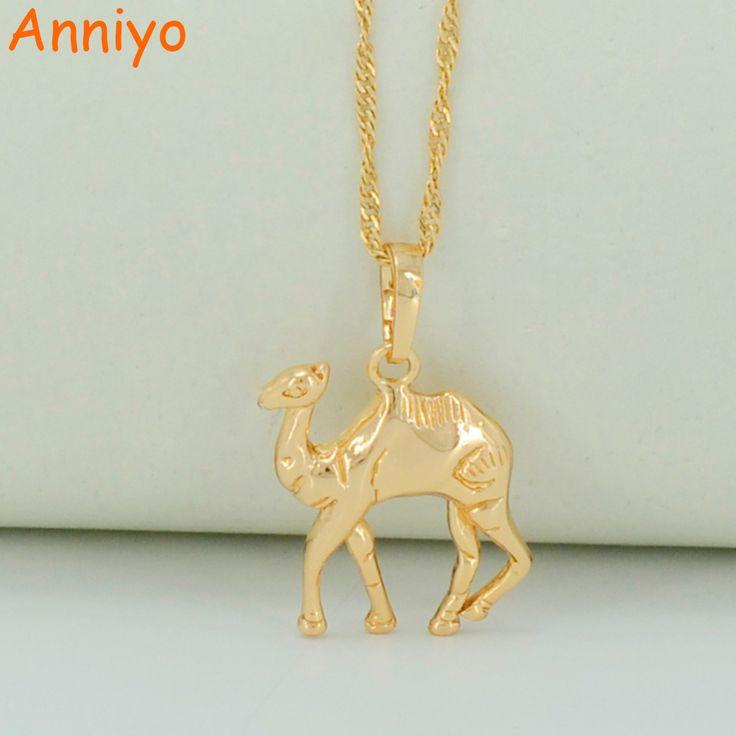 Good Anniyo Small Camel Necklaces for Women Men Light Gold Color Little Camel Pendant Necklaces Animal