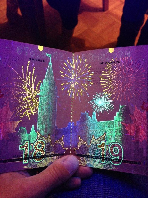 Bet you didn't know this: the Canadian passport has hidden artwork that's only visible under UV black light. The black light designs are integrated with watermark artwork that is already visible under normal light. Here's a sample page from the most recent version of the passport, showing the Parliament buildings in Ottawa (with black light fireworks).