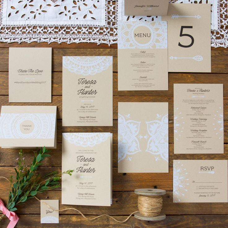 Boho Chic Wedding Invitation Sets White Opaque Ink On Craft Card Stock Mandala