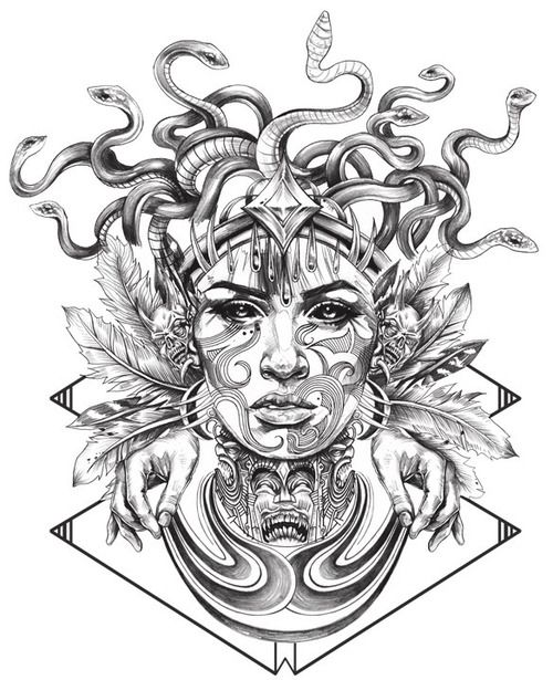 drawings for tattoos - Pesquisa Google Her face with the feathers. More of an afro with the hair in combination with the snakes and a mixture of orchids and feathers in the headress.