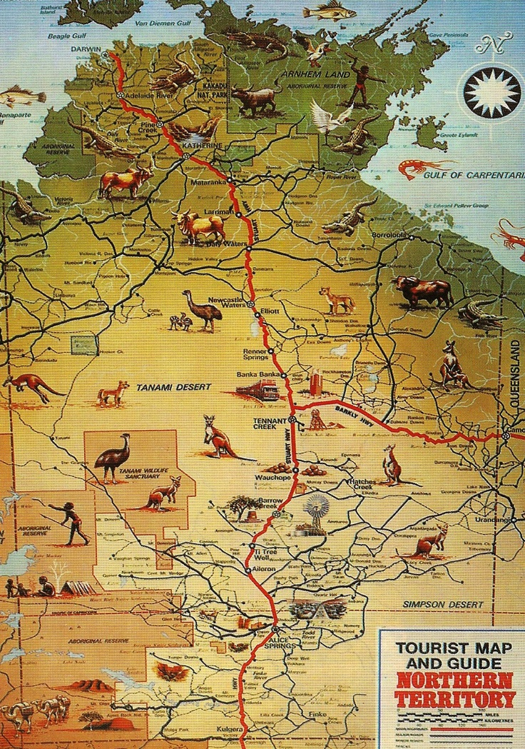 Detailed map of Northern Territory (from Alice Springs follow the road north towards Tennants Creek, continue a bit further and stop at Elliott just before Newcastle Waters).