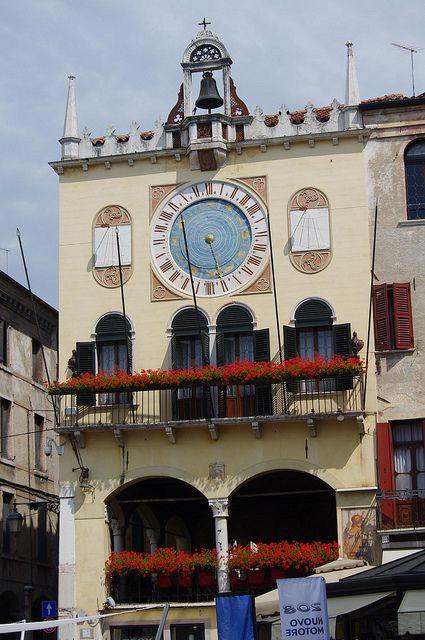 Bassano del Grappa, Clocktower of town hall, Veneto, Italy