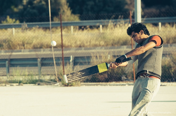 Immigrants' cricket game in Athens