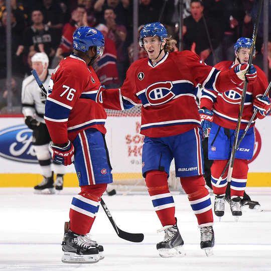 NHL.com - Photos P.K. Subban #76 of the Montreal Canadiens celebrates with Dale Weise #22 after scoring a goal against the Los Angeles Kings in the NHL game at the Bell Centre on December 12, 2014 in Montreal, Quebec, Canada.